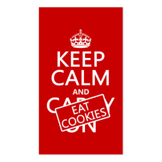Keep Calm and Eat Cookies (customizable) Double-Sided Standard Business Cards (Pack Of 100)