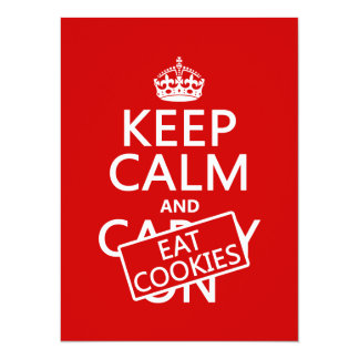 Keep Calm and Eat Cookies (customizable) 5.5x7.5 Paper Invitation Card
