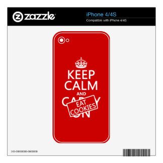 Keep Calm and Eat Cookies (customizable) Skins For iPhone 4