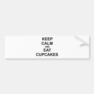 Keep Calm and Eat Cupcakes black blue gray Bumper Sticker