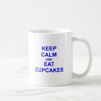 Keep Calm and Eat Cupcakes black blue gray Classic White Coffee Mug