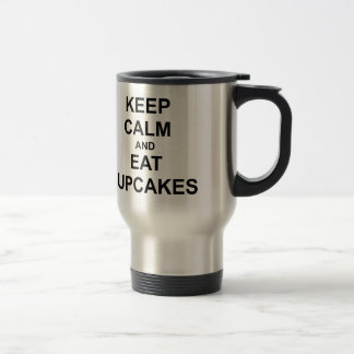 Keep Calm and Eat Cupcakes black blue gray 15 Oz Stainless Steel Travel Mug