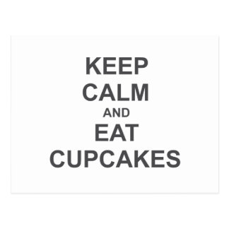 Keep Calm and Eat Cupcakes black blue gray Postcard
