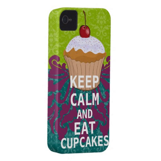 KEEP CALM AND Eat Cupcakes-change aqua any color Case-Mate iPhone 4 Cases
