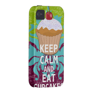 KEEP CALM AND Eat Cupcakes-change plum any color iPhone 4/4S Case