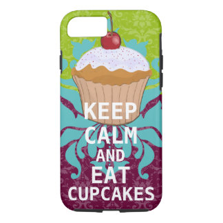 KEEP CALM AND Eat Cupcakes-change plum any color iPhone 8/7 Case