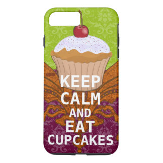 KEEP CALM AND Eat Cupcakes-change plum any color iPhone 8 Plus/7 Plus Case