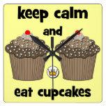keep calm and eat cupcakes clocks