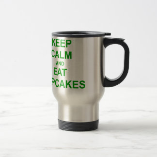Keep Calm and Eat Cupcakes green pink red 15 Oz Stainless Steel Travel Mug
