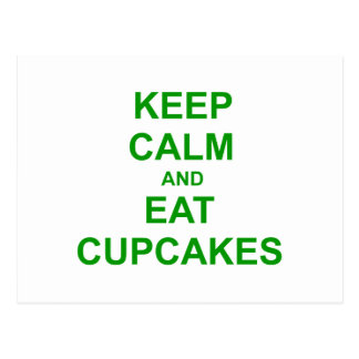 Keep Calm and Eat Cupcakes green pink red Postcard
