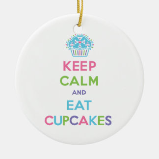 Keep Calm and Eat Cupcakes Double-Sided Ceramic Round Christmas Ornament