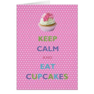 Keep Calm and Eat Cupcakes Pink Polka Dots Card