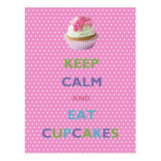 Keep Calm and Eat Cupcakes Pink Polka Dots Postcard