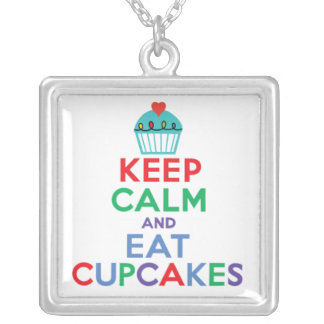 Keep Calm and Eat Cupcakes  primary Square Pendant Necklace