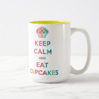 Keep Calm and Eat Cupcakes rainbow mug