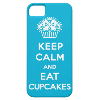 Keep Calm and Eat Cupcakes - solid blue iPhone 5 iPhone SE/5/5s Case
