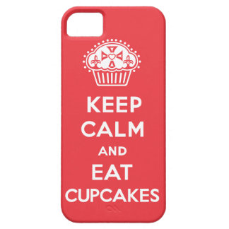 Keep Calm and Eat Cupcakes - solid red iPhone 5 iPhone SE/5/5s Case