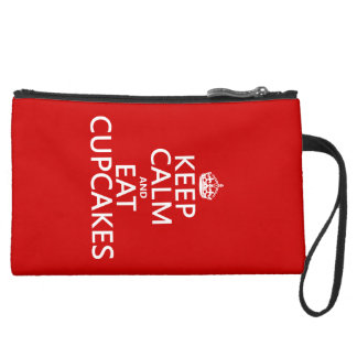 Keep Calm and Eat Cupcakes Suede Wristlet Wallet