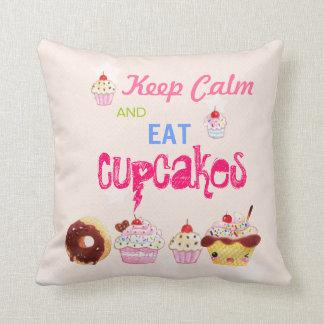 Keep Calm and eat Cupcakes Throw Pillow
