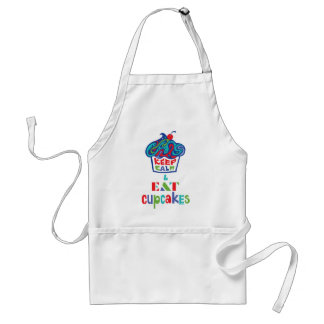 Keep Calm and Eat Cupcakes - trippy Adult Apron