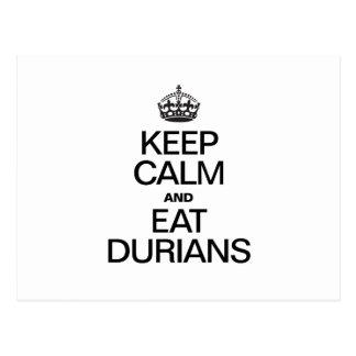 KEEP CALM AND EAT DURIANS POSTCARD