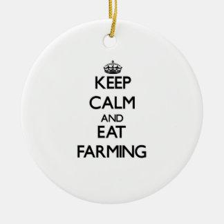 Keep calm and eat Farming Christmas Ornaments