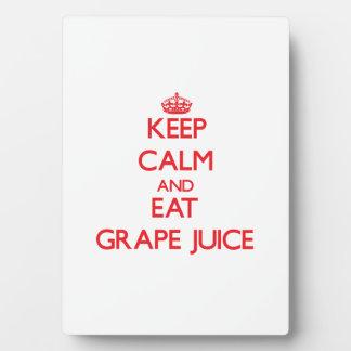 Keep calm and eat Grape Juice Photo Plaques