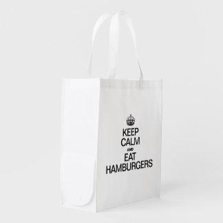 KEEP CALM AND EAT HAMBURGERS GROCERY BAG