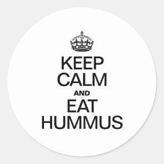 KEEP CALM AND EAT HUMMUS CLASSIC ROUND STICKER