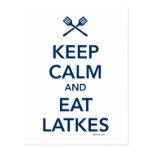 Keep Calm and Eat Latkes Post Cards