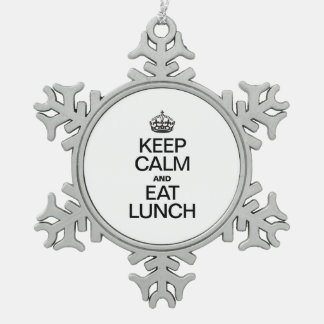 KEEP CALM AND EAT LUNCH SNOWFLAKE PEWTER CHRISTMAS ORNAMENT