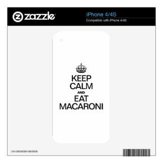 KEEP CALM AND EAT MACARONI iPhone 4 DECAL