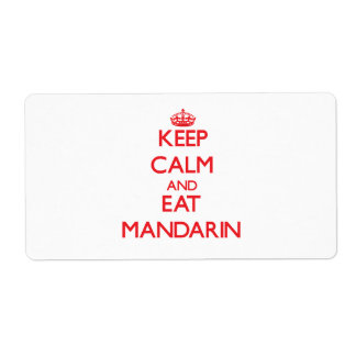 Keep calm and eat Mandarin Shipping Label