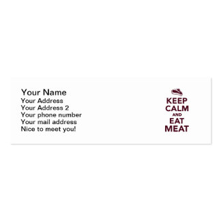 Keep calm and eat Meat Mini Business Card