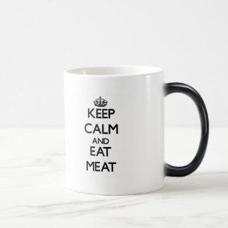 Keep calm and eat Meat 11 Oz Magic Heat Color-Changing Coffee Mug