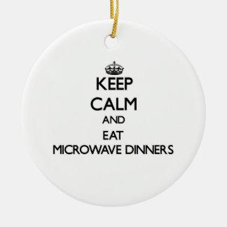 Keep calm and eat Microwave Dinners Christmas Tree Ornament