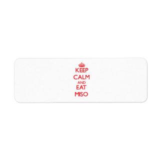 Keep calm and eat Miso Return Address Label