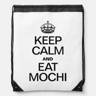 KEEP CALM AND EAT MOCHI DRAWSTRING BAGS