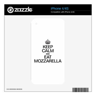 KEEP CALM AND EAT MOZZARELLA. DECALS FOR THE iPhone 4