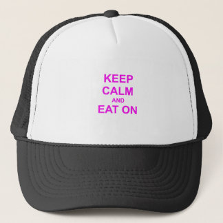 Keep Calm and Eat On red pink orange Trucker Hat