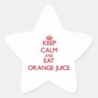 Keep calm and eat Orange Juice Star Sticker