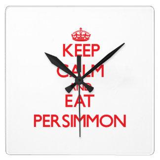 Keep calm and eat Persimmon Wall Clocks