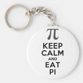 Keep Calm And Eat Pi Phrase Math Humor Keychain