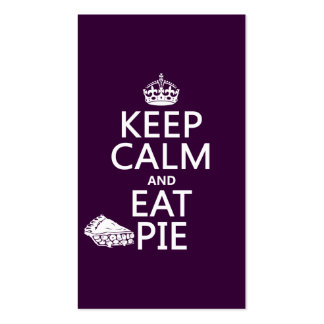 Keep Calm and Eat Pie (customize colors) Double-Sided Standard Business Cards (Pack Of 100)