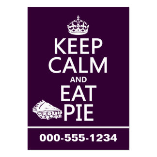 Keep Calm and Eat Pie (customize colors) Large Business Cards (Pack Of 100)