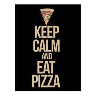 Keep calm and eat pizza postcard