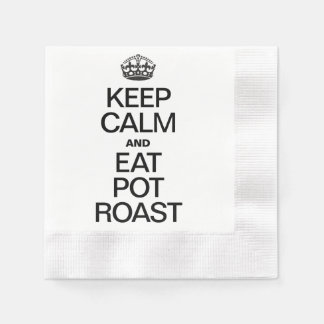 KEEP CALM AND EAT POT ROAST COINED COCKTAIL NAPKIN