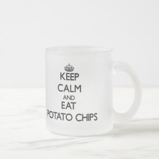 Keep calm and eat Potato Chips Frosted Glass Coffee Mug