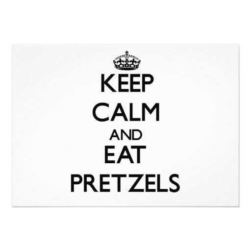 Keep calm and eat Pretzels Custom Announcements