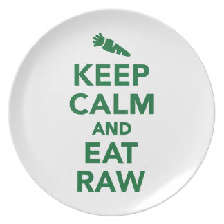 Keep calm and eat raw food party plates